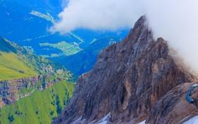 Обои облака, горы, дома, Альпы, Италия
