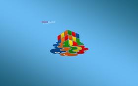 Картинка лужа, кубик, кубик рубика, синий фон, Design Graphic