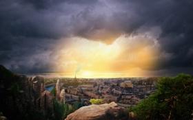Картинка небо, солнце, тучи, мост, город, река, камни