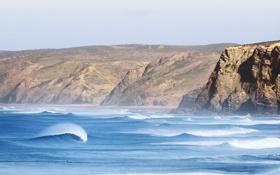 Обои волны, пляж, небо, брызги, скалы, чайки, серфер