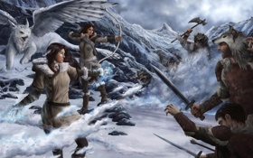 Картинка зима, снег, магия, арт, битва, грифон, Natalie Becker
