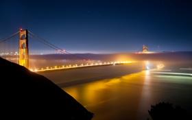Картинка ночь, огни, california, pacific ocean, калифорния, night, san francisco
