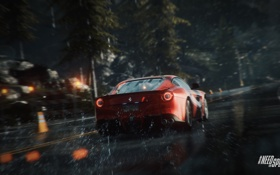 Обои Дорога, Лес, Брызги, Race, Wood, Ferrari F12 Berlinetta, Need For Speed Rivals