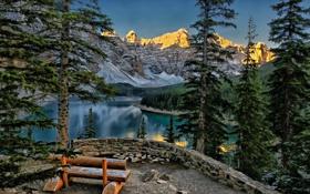 Картинка лес, деревья, горы, озеро, парк, скамья