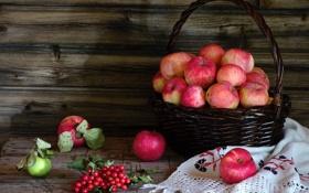 Обои яблоки, натюрморт, корзинка