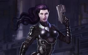 Картинка пистолет, Девушка, костюм, острые уши