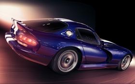 Картинка скорость, минимализм, Dodge, Viper GTS, автомобиль, Арт
