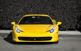 Картинка жёлтый, тень, ferrari, феррари, yellow, италия, передок