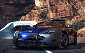 Обои дорога, Aston Martin, полиция, need for speed, hot pursuit