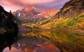 Картинка горы, природа, пруд, леса
