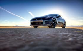 Обои Небо, Авто, Черный, Nissan, GT-R, Black, передок