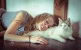 Картинка кошка, настроение, девочка