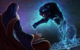 Картинка прыжок, пантера, пентаграмма, Маг