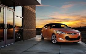 Обои закат, Hyundai, Veloster, отражение