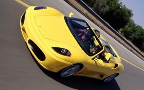 Картинка желтый, Ferrari, F430, скорость, Spider, автомобиль