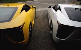 Обои авто, белый, желтый, Lexus, дуэт, лексус, Lexus LFA