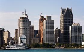 Обои city, город, USA, Detroit, Michigan