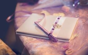 Картинка розовый, ручка, лента, тетрадь, дневник