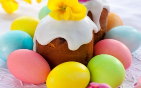 Обои яйца, Пасха, cake, кулич, flowers, выпечка, глазурь