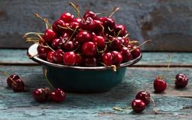Обои лето, миска, фрукты, спелая сочная черешня