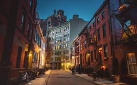 Картинка люди, улица, Нью-Йорк, сумерки, велосипеды, Соединенные Штаты, фонарные столбы