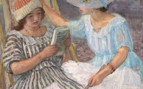 Картинка девушка, картина, книга, шляпка, жанровая, Анри Лебаск, Марта и Ноно
