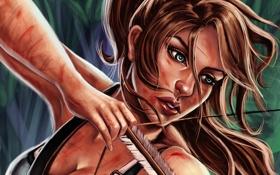 Обои девушка, лук, арт, порезы, стрела, lara croft, тетива