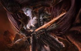 Картинка магия, Девушка, меч, доспехи, плащ