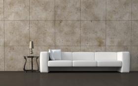 Картинка диван, подушки, столик, ночник