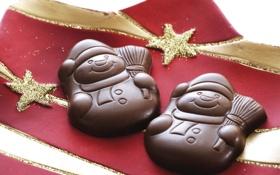 Обои снеговики, Рождество, шоколад, еда, тарелка, десерт, праздники