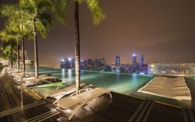 Обои крыша, ночь, огни, дома, бассейн, Сингапур, отель