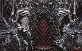 Обои металл, арт, статуя, парень, трон, Wen-M