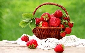 Картинка ягоды, корзина, земляника, клубника, натюрморт, корзинка