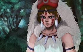 Обои глаза, взгляд, аниме, маска, принцесса, princess mononoke