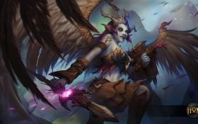 Обои девушка, крылья, копье, heroes of newerth, Valkyrie, Skiver Valkyrie