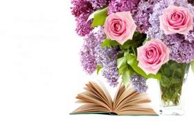 Обои цветы, розы, букет, книга, flowers, сирень, book