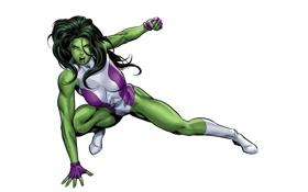 Обои art, She-Hulk, Женщина-Халк, Marvel, фон, арт