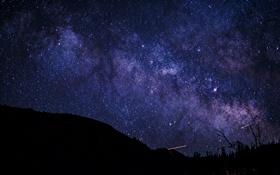 Картинка космос, звезды, ночь, пространство, силуэт, млечный путь