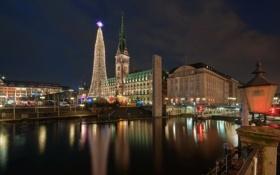 Обои ночь, город, река, фото, елка, дома, Германия