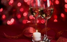 Обои Свечи, красные, шампанского