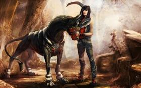 Картинка взгляд, девушка, фантастика, существо, лапы, арт, рога