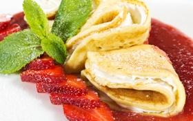 Обои клубника, блины, мята, выпечка, strawberry, варенье, творог