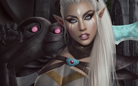 Картинка грудь, взгляд, девушка, лицо, эльф, красота, меч