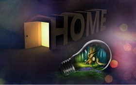 Картинка лампочка, дом, креатив, идеи