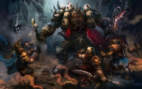 Картинка оружие, люди, монстр, арт, клетки, битва, орк