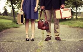 Картинка дорога, люди, сумки, разное, чемоданы