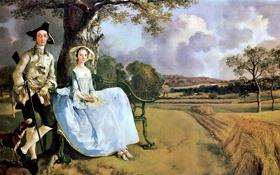 Картинка поле, небо, облака, деревья, пейзаж, картина, снопы