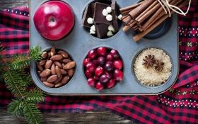 Обои корица, яблоки, пряности, шоколад, миндаль, сахар, зима