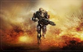 Картинка оружие, война, взрывы, солдат, section 8