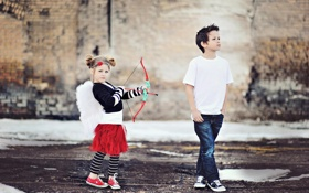 Обои Love, Girl, Street, Wallpaper, Angel, Boy, Background